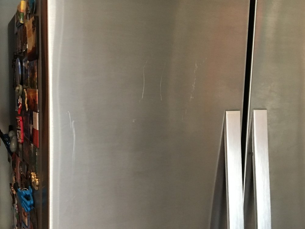 Stainless Steel Refrigerator Before Restoration