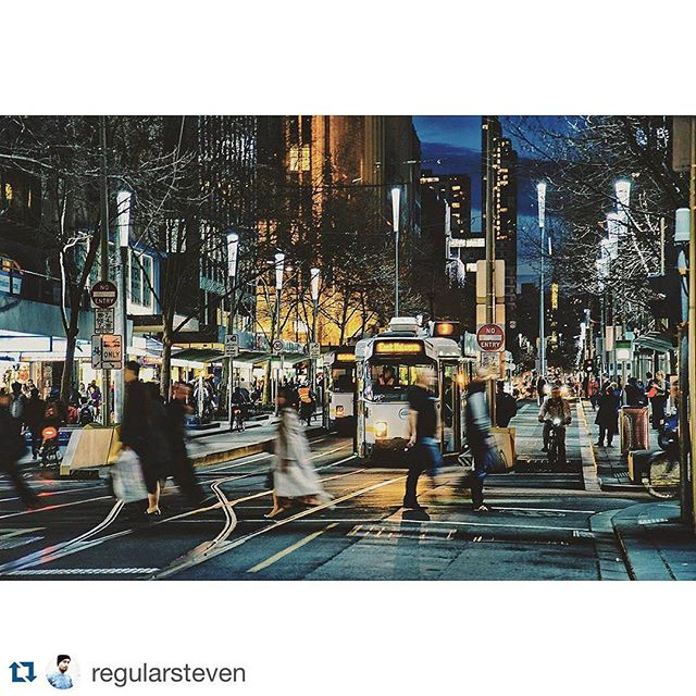 Super cool #snap of #traffic in our  hometown #Melbourne courtesy of #Repost @regularsteven ・・・ Swansnap... Another shot from last night on route home. #swanstonstreet #Melbourne #traffic #streetphotography #visitmelbourne #tram