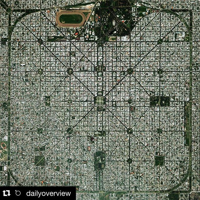 "Streets from above courtesy of #Repost @dailyoverview ・・・ The planned city of La Plata - the capital city of the Province of Buenos Aires - is characterized by its strict grid pattern. At the 1889 World's Fair in Paris, the new city was awarded two gold medals for the ""City of the Future"" and ""Better performance built."""