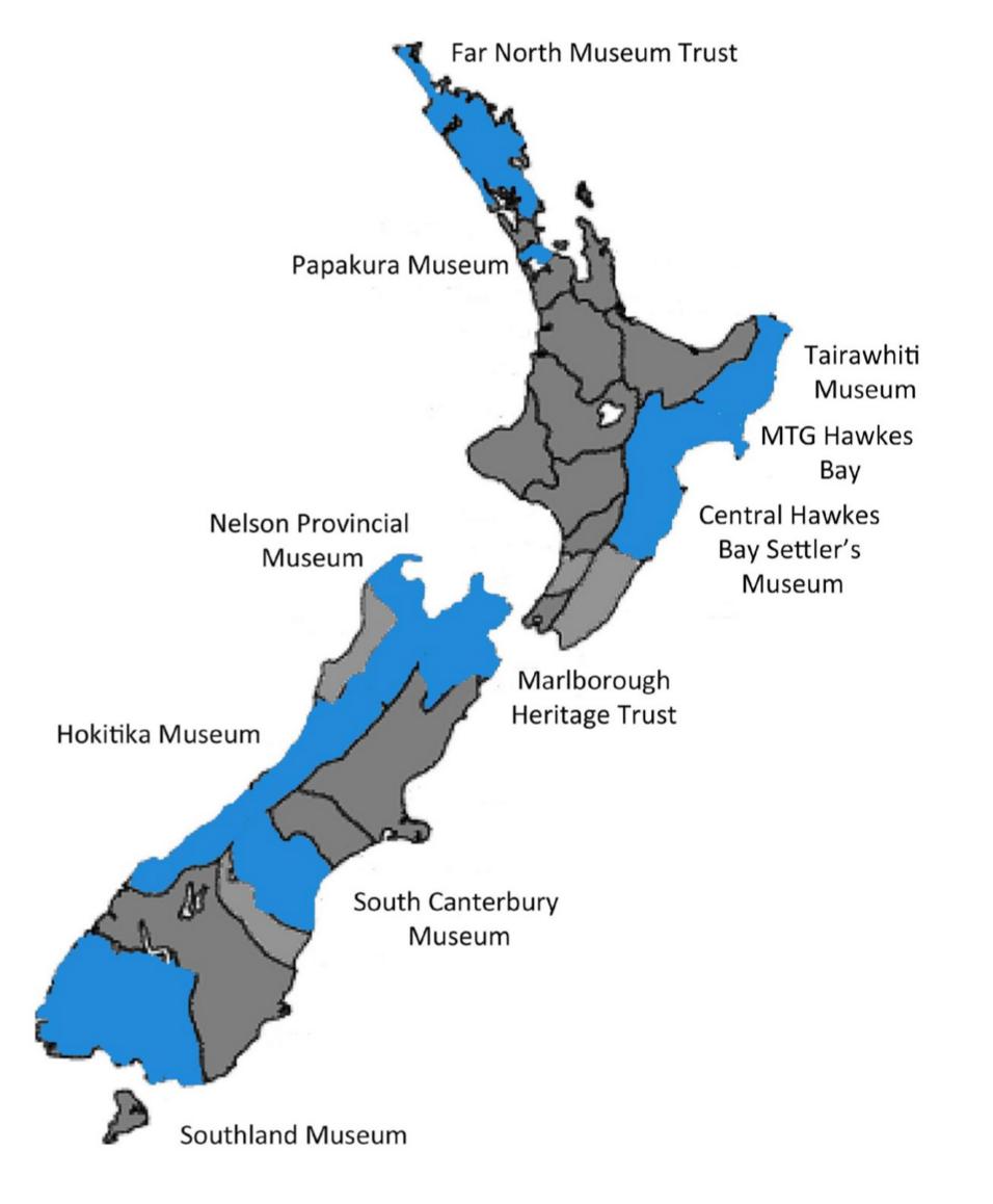 Locations of Survivor WW1 interactive exhibit around New Zealand.