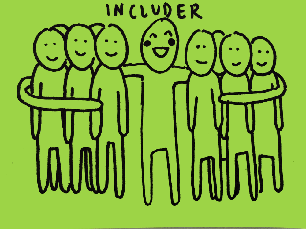 Includer Strengthsfinder Funky People Hugging Others