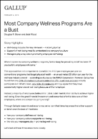 Most Company Wellness Programs Are a Bust (Gallup, Inc.)