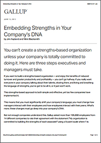 Embedding Strengths in Your Company's DNA (Gallup, Inc.)