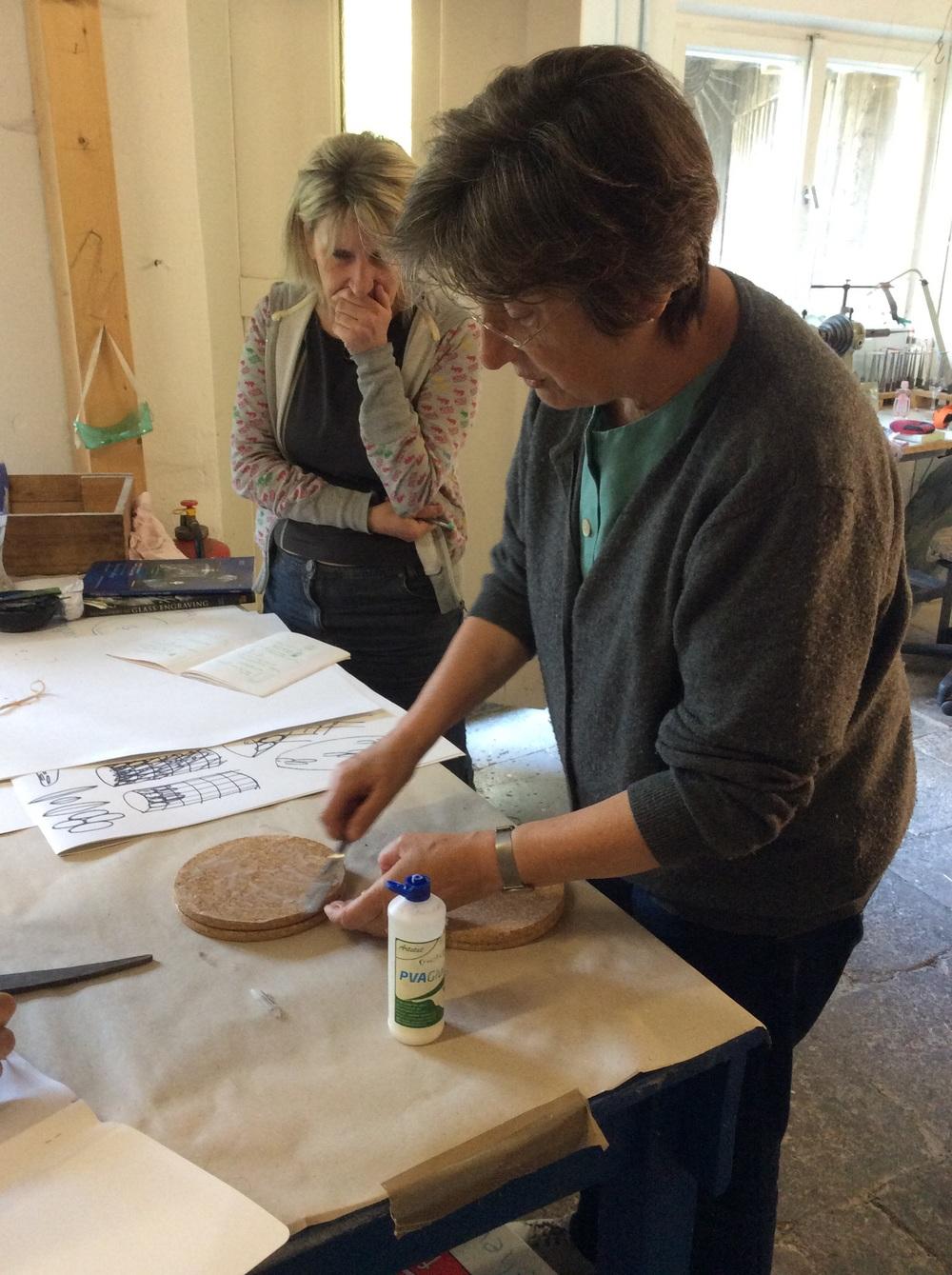 Katharine making a cork polishing wheel