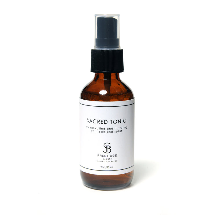 SACRED TONIC (60ml) - AN ORGANIC TONIC THAT HYDRATES, REVITALIZESTIRED SKIN, SETS YOUR MAKEUP, REFRESHES YOU POST-WORKOUT—BUT MOST NOTABLY—SHIFTS YOUR ENERGY, INVITING AN ELEVATED STATE OF BEING.