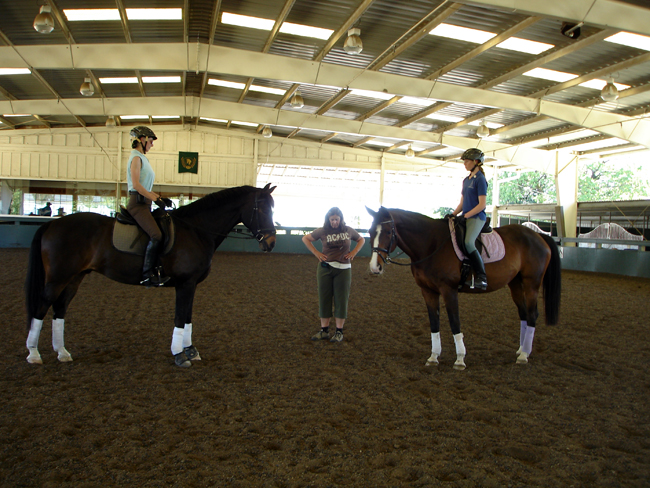 Pilates Specialist Katrina working with riders to be aware of pelvic positioning while in the saddle