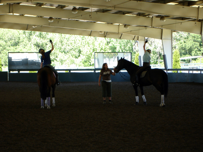 Pilates Specialist Katrina works with riders on lengthening their sides, prior to lateral work.