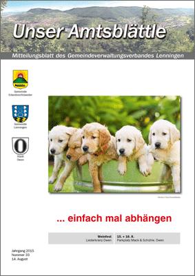 """""""Unser Amtsblättle"""" Mitteilungsblatt des Gemeindeverbandes Lenningen"""
