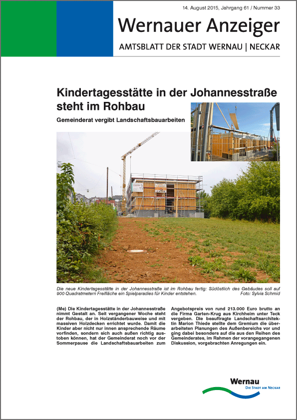 """""""Wernauer Anzeiger"""" Amtsblatt der Stadt Wernau am Neckar"""