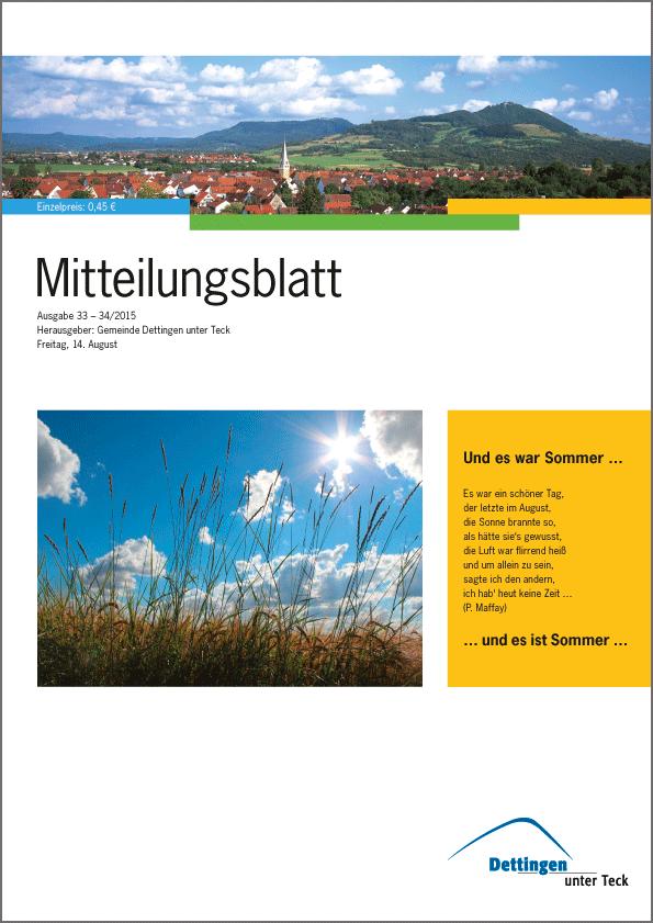 """""""Mitteilungsblatt"""" der Gemeinde Dettingen unter Teck"""
