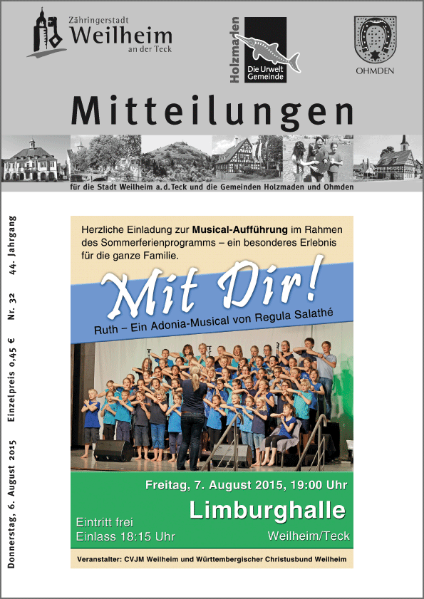 """""""Mitteilungen"""" für die Stadt Weilheim an der Teck und die Gemeinden Holzmaden und Ohmden"""