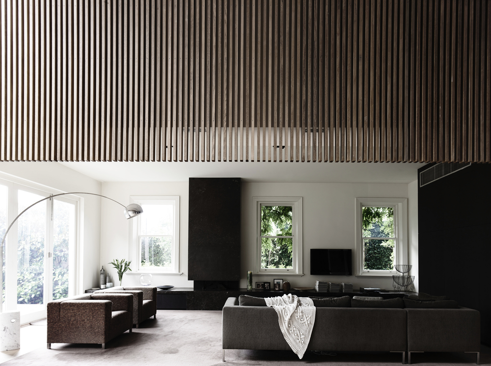 St Kilda House living area by Chamberlain Architects
