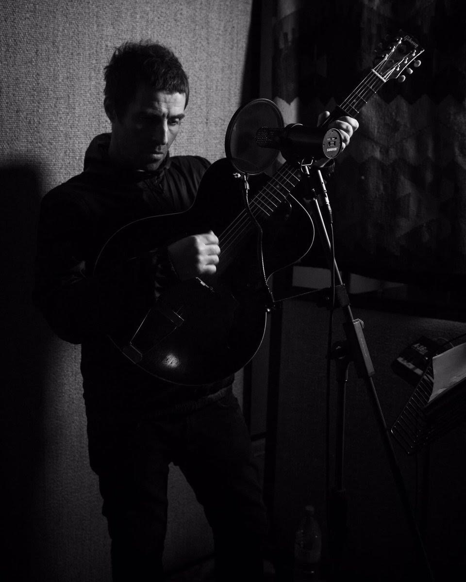 Liam Gallagher recording at Snap Studios.  Image credit: @liamgallagher via Twitter.