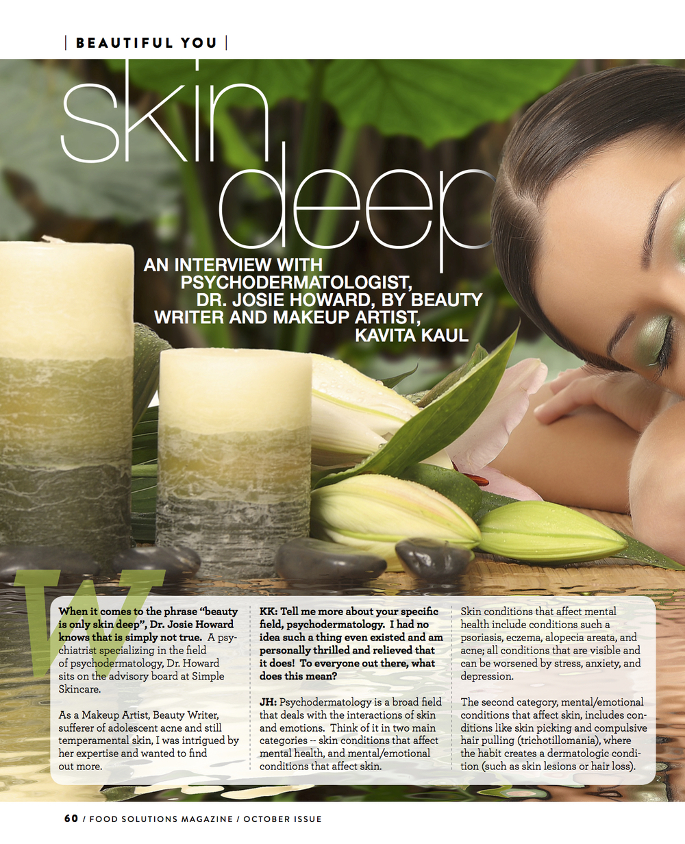 Skin Deep and Interview by Kavita Kaul for Food Solutions Magazine