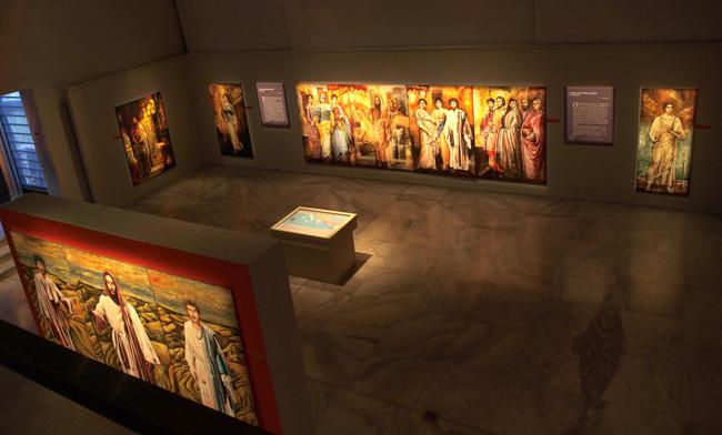 Blick in die Ausstellung von Prof. Makis Warlamis über den Apostel Paulus im Museum für Byzantinische Kultur, Stratou 2, Thessaloniki, Tel: +30 231 330 6400