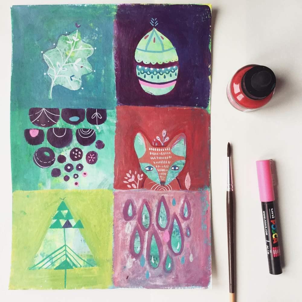 winter, autumn, fox, leaf, cone, tree