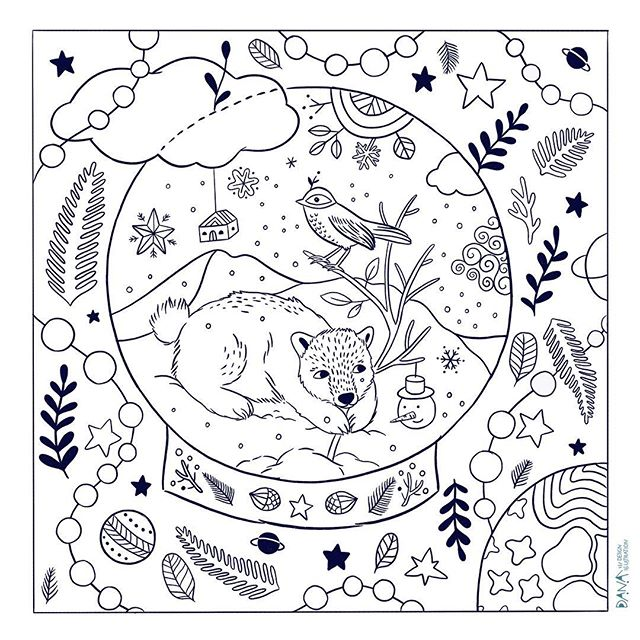 A little gift from me to you, just in time before New Year 😘 Go to my blog to download (link in profile) and colour if you wish 😊 . . #happynewyear2019 #gift #christmasdrawing #colouringpage #quirkydrawing #fortheloveofdrawing #happymama #danadesignillustration