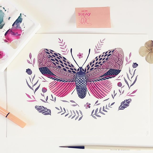 Playing with a leafy butterfly, planning the week ahead and wishing you a great day 🍃  #makearteveryday #butterflys #butterflyillustration #doitfortheprocess #danadesignillustration #happymom