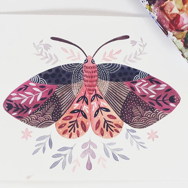 Here's another one and off I go wishing you a great week 😊🌞🌱 #mothillustration #makearteveryday #watercolorbutterfly #happymama #creativelifehappylife