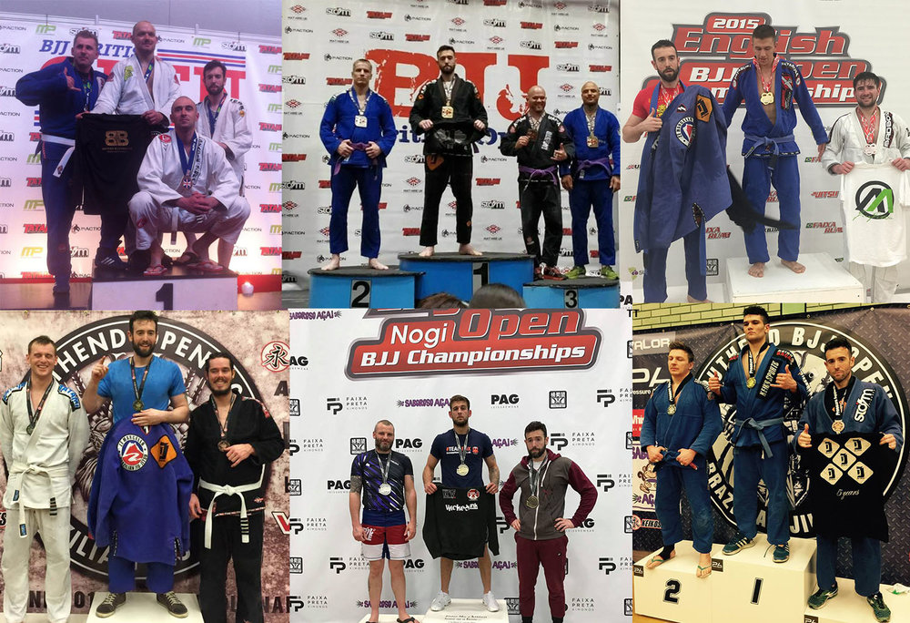 Fordy winning or competing in various BJJ competitions