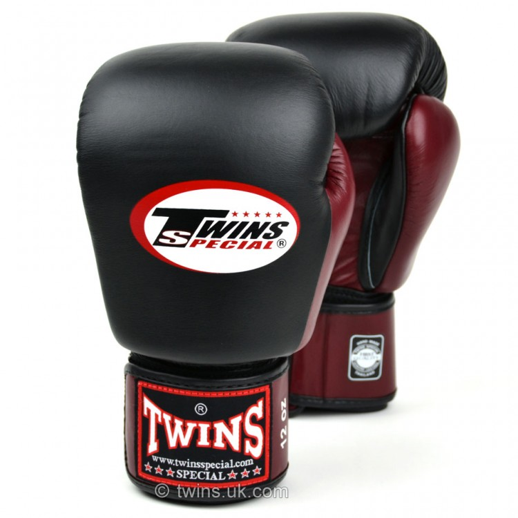 Twins 2-Tone Black-Maroon Boxing Gloves
