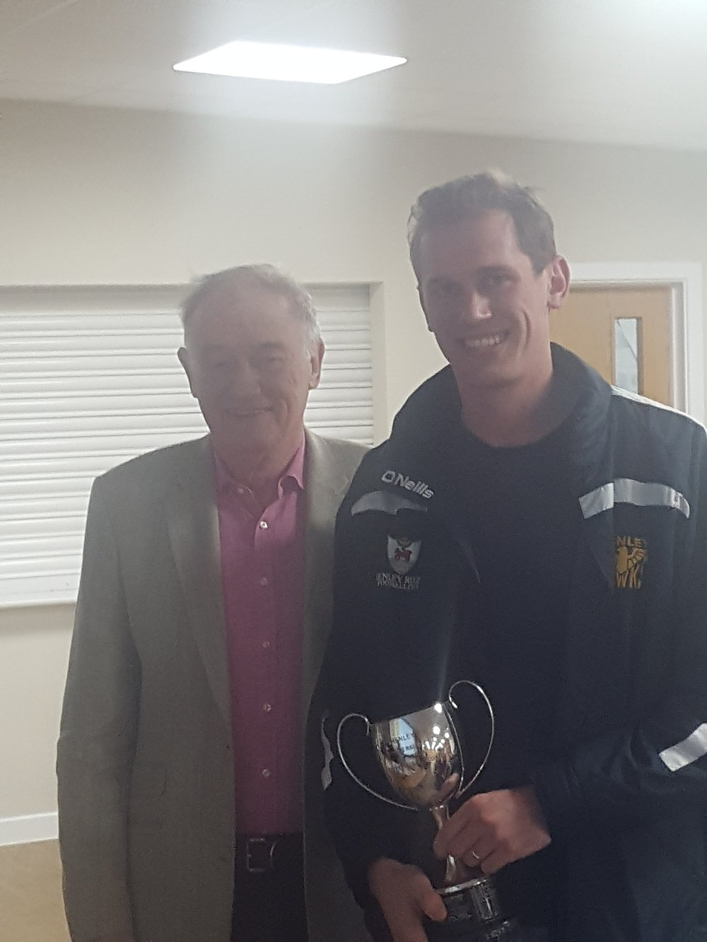 Chris Parrott - Team Manager of the Henley Vikings being presented with Clubman of the Year from Mike Trethewey