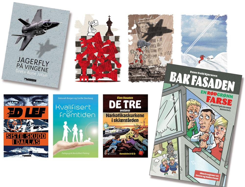 Vi designer omslag og illustrerer bøker for en rekke forfattere i et mylder av sjangere, fra konspiratoriske thrillere og politisk satire til fargerike barnebøker og tyngre læreverk på pensumlista.