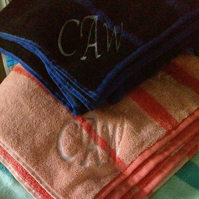 Couple personalized beach towels to close out the summer. #220customs