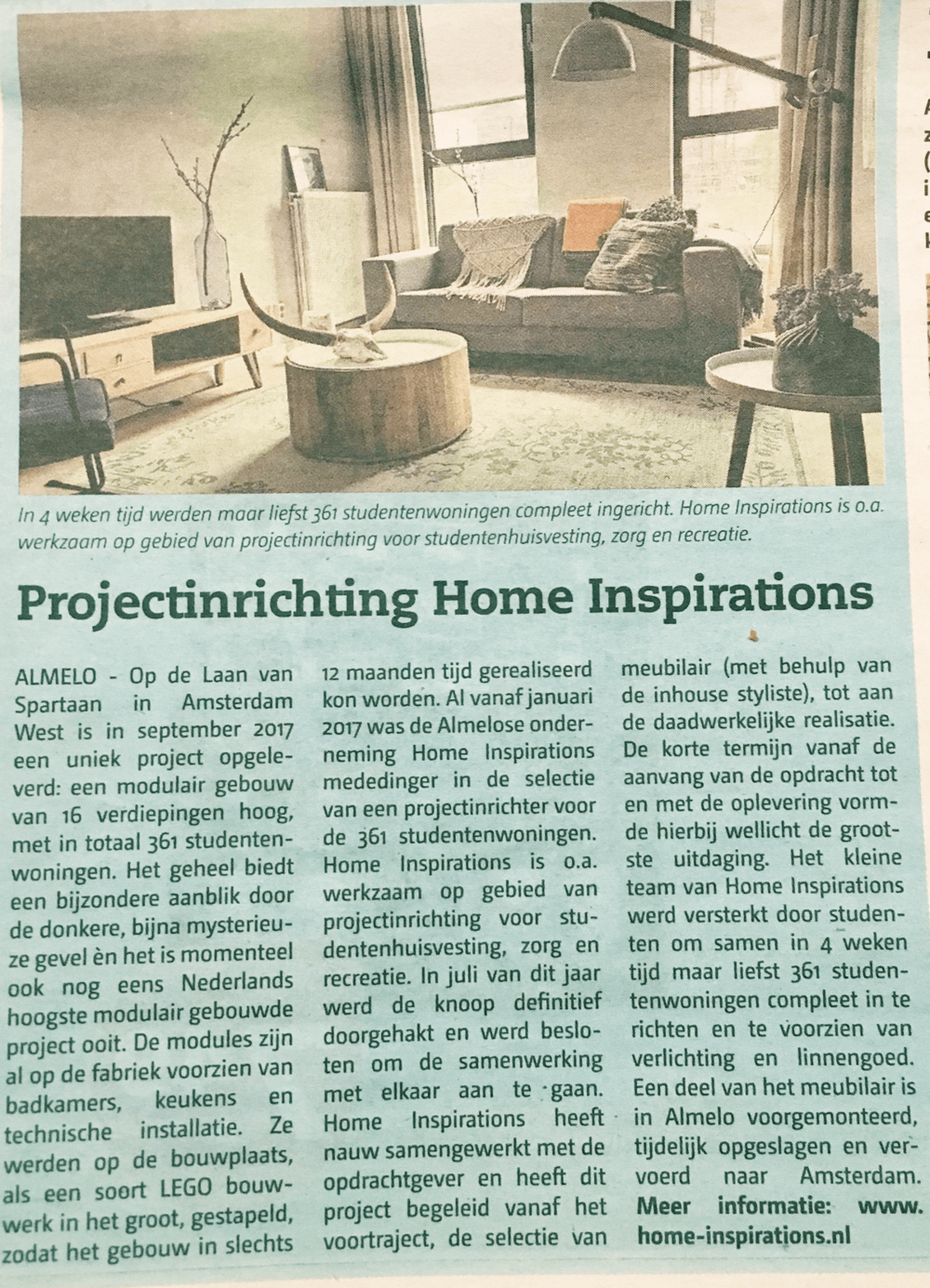 Persbericht Home Inspirations Almeloos weekblad dec 2017