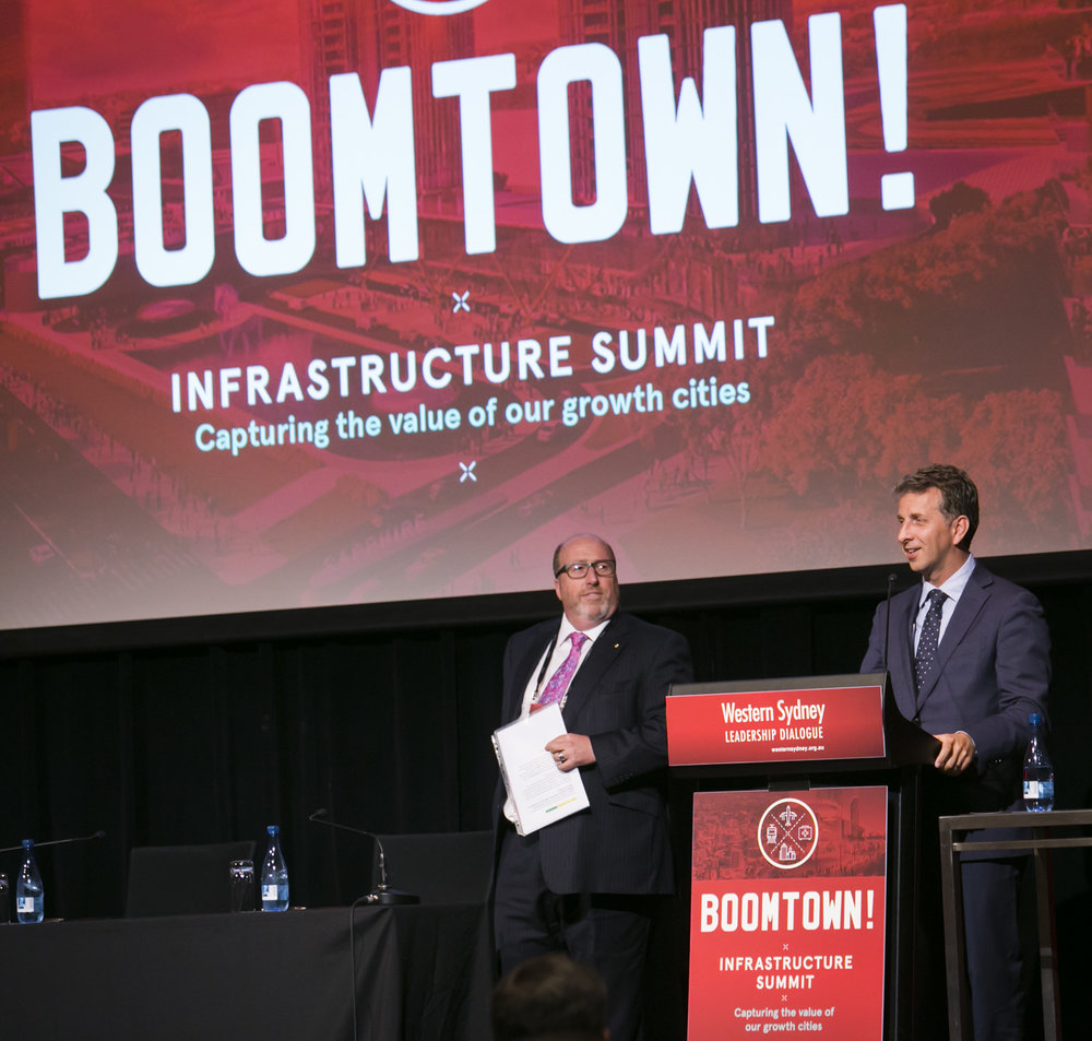 Dialogue Chairman Christopher Brown AM, with NSW Minister Andrew Constance MP, who has championed value-capture as a means to fund infrastructure projects.