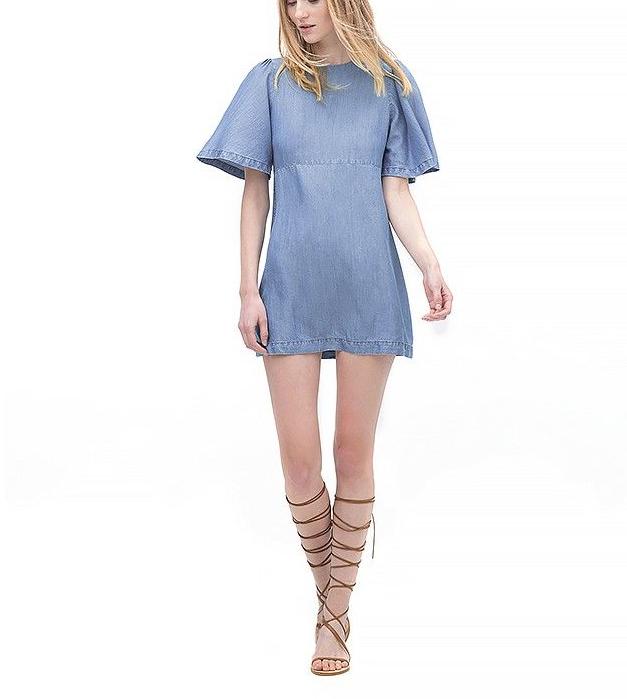 Denim Shift Dress/Bell SleevesInspiration - Image from Pinterest
