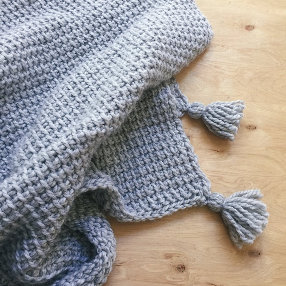 Easy Tunisian Crocheted Blanket With Tassels Coffee And Blankets
