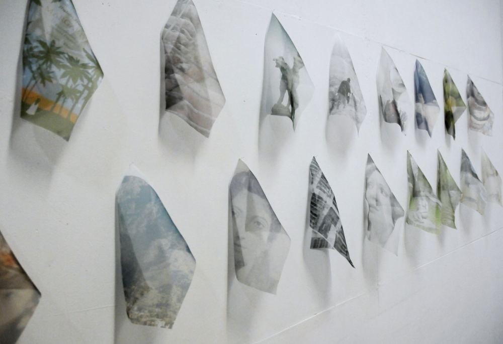 Gracias (2014). Detail Seventeen organza handkerchiefs printed with pigment inks  18x28 cm each