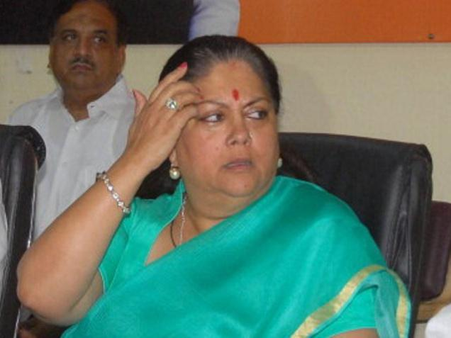 Rajasthan Chief Minister Vasundhara Raje attends a meeting at the BJP office in Jaipur on Wednesday. Photo: Rohit Jain Para
