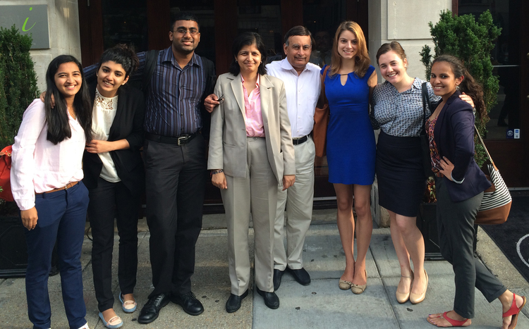 Summer 2015 team from left to right: Verushka Patel, Aleezah Qasim, Hari Prasad, Aparna Pande, Husain Haqqani, Devin Chavira, Taylor Zevanove, and Ahana Das. Not pictured: Yuvraj Singh