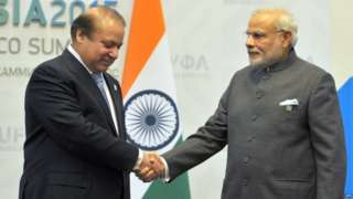This was the first meeting between the two leaders since Mr Sharif attended Mr Modi's oath taking ceremony in May 2014