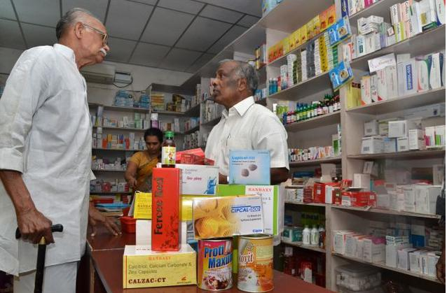 APPLICATION: While the public sector has played a critical role in research, the private sector has developed this knowledge into new medicines. Picture shows a drug store in Vijayawada.
