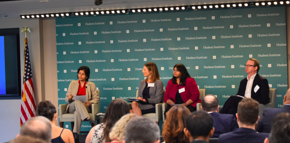Dr. Aparna Pande moderating a discussion on India's National IPR Policy with Amiee Aloi (PhRMA), Kalpana Reddy (GIPC), and Joe Walsh (21st Century Fox).