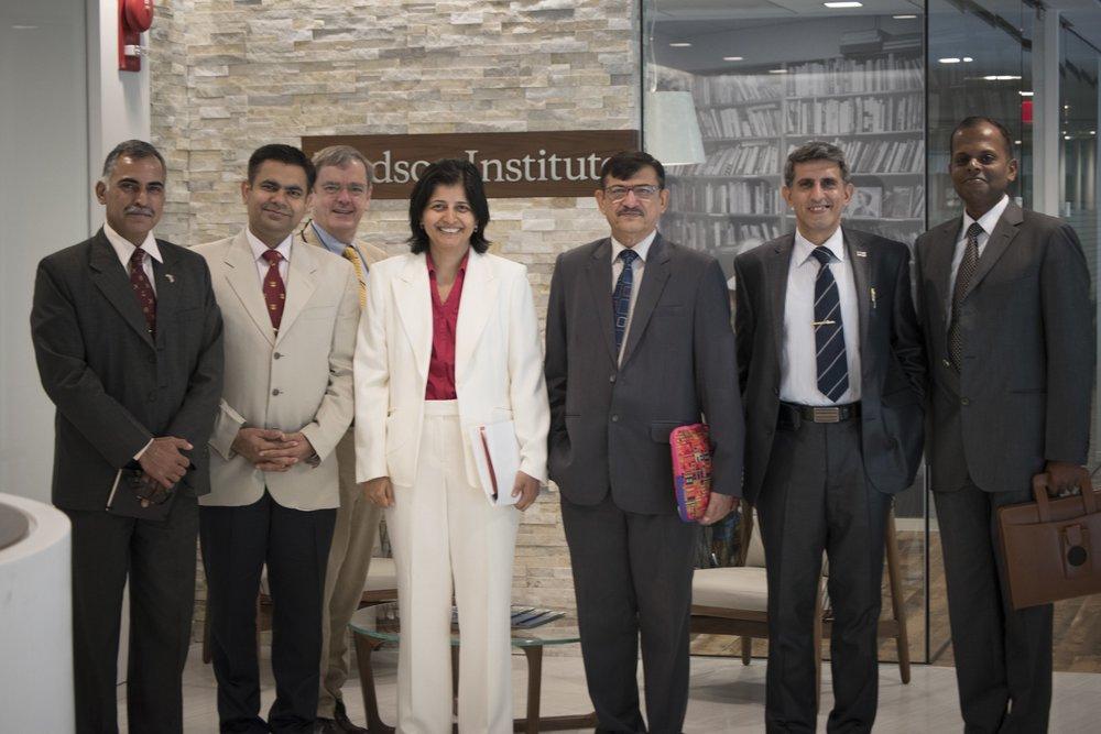 Dr. Pande with Dr. Vijay Sakhuja, Captain Gurpreet S. Khurana, Commander Prakash Gopal, Commander Dinesh Yadav,Col John Gill, and Commodre Sandeep Mehta.