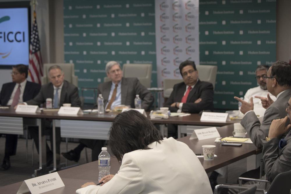 Clockwise: Douglas Feith, Harshvardhan Neotia, MP Neeraj Shekhar, Ambassador Husain Haqqani, Dr. Didar Singh, Dr. Aparna Pande