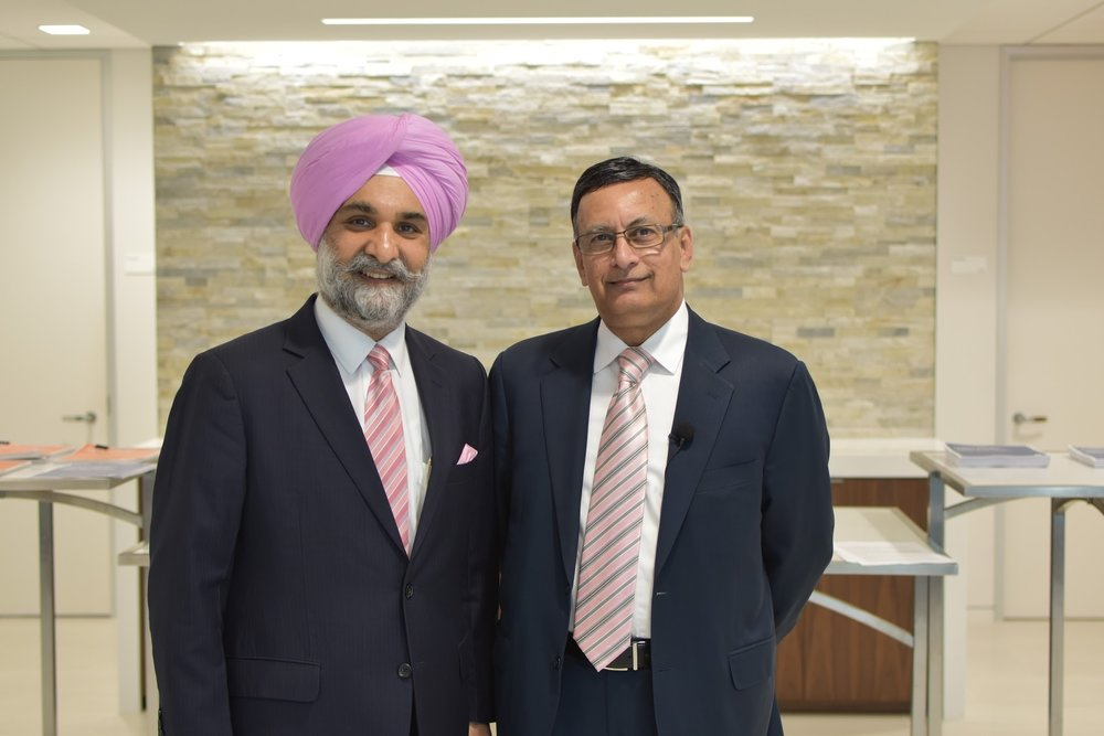(Ambassador Taranjit Sandhu with Ambassador Husain Haqqani. The event ended with Amb. Sandhu delivering closing remarks on the importance of Indo-US cooperation in healthcare and innovation.)