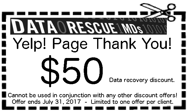 While our data recovery pricing is normally hundreds or many hundreds of dollars less than our competitors, we are offering a special THANK YOU discount of $50 for finding our Yelp! page and bringing your failed data storage device to us. When we successfully recover your data at your request, present the coupon and we'll discount the data recovery fee by $50.00!