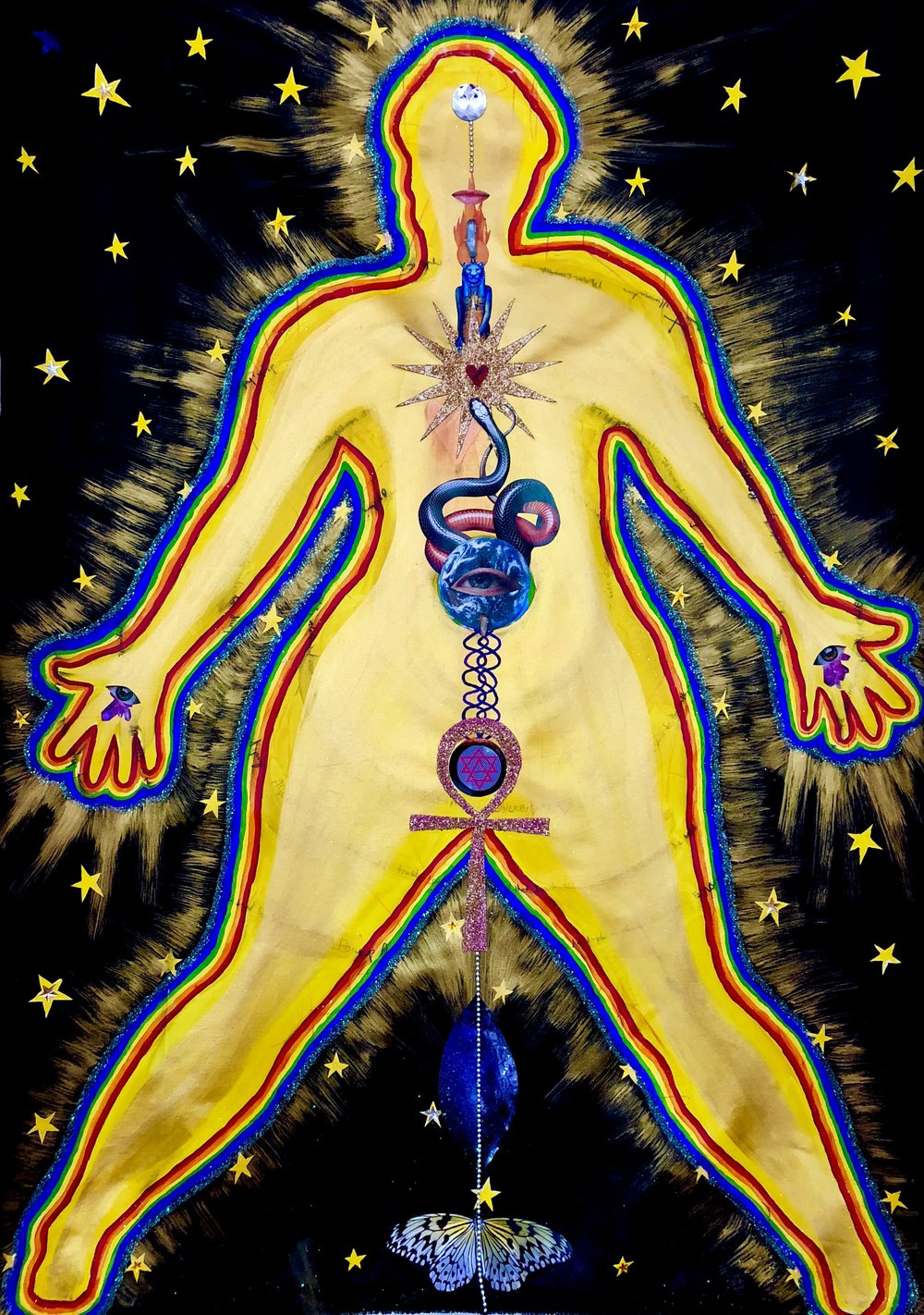 5 foot mixed media Shamanic Healing he(art) work