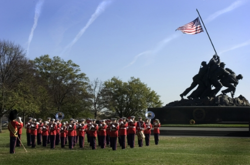 Sunset Parade at Marine Corps War Memorial, Arlington Ridge Park, National Mall
