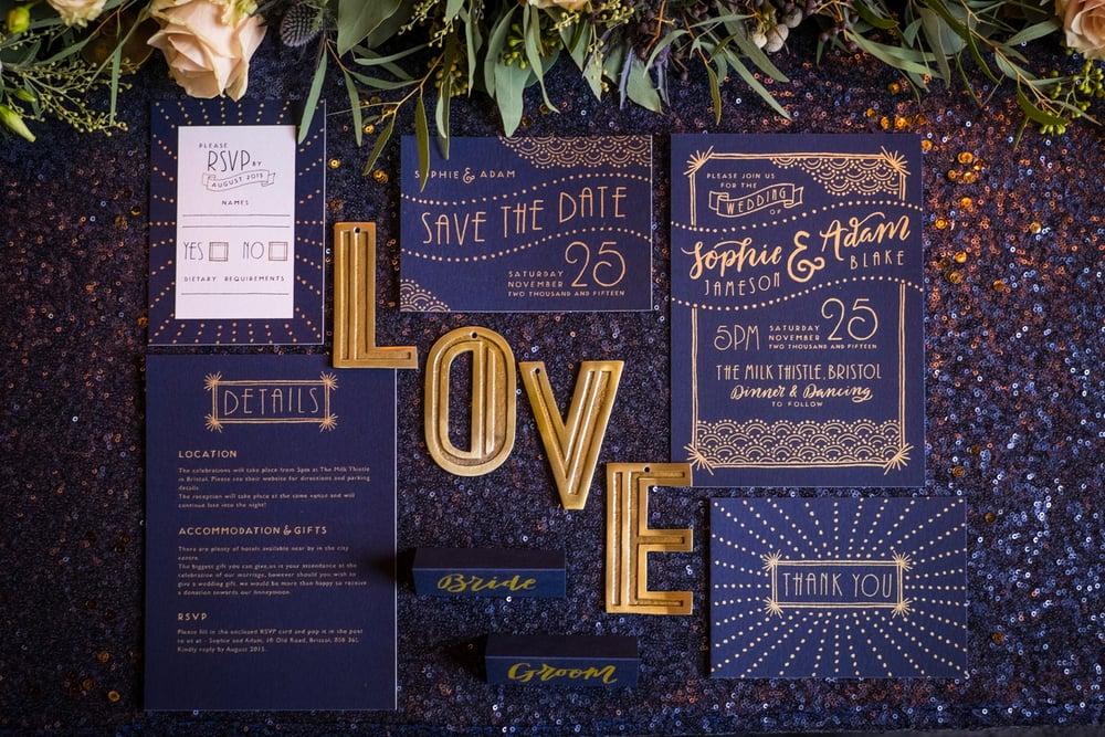 art deco wedding invite