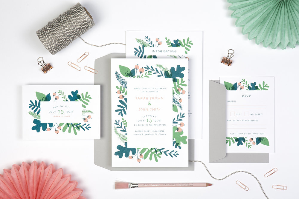 foliage wedding invite