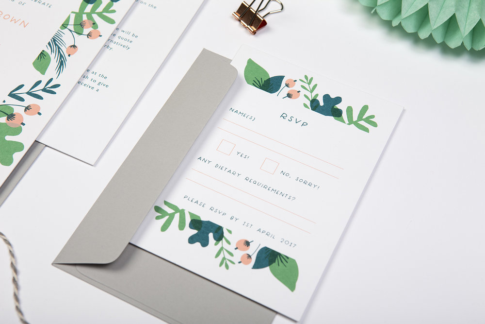 leafy wedding invite