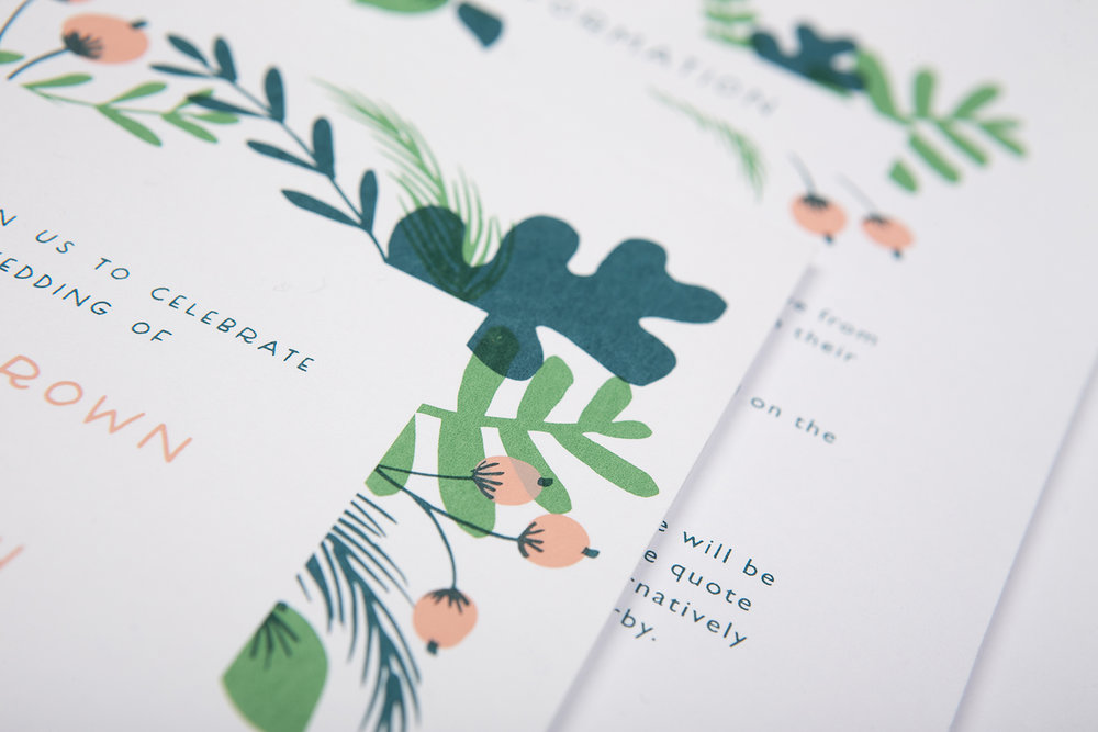 green wedding invite