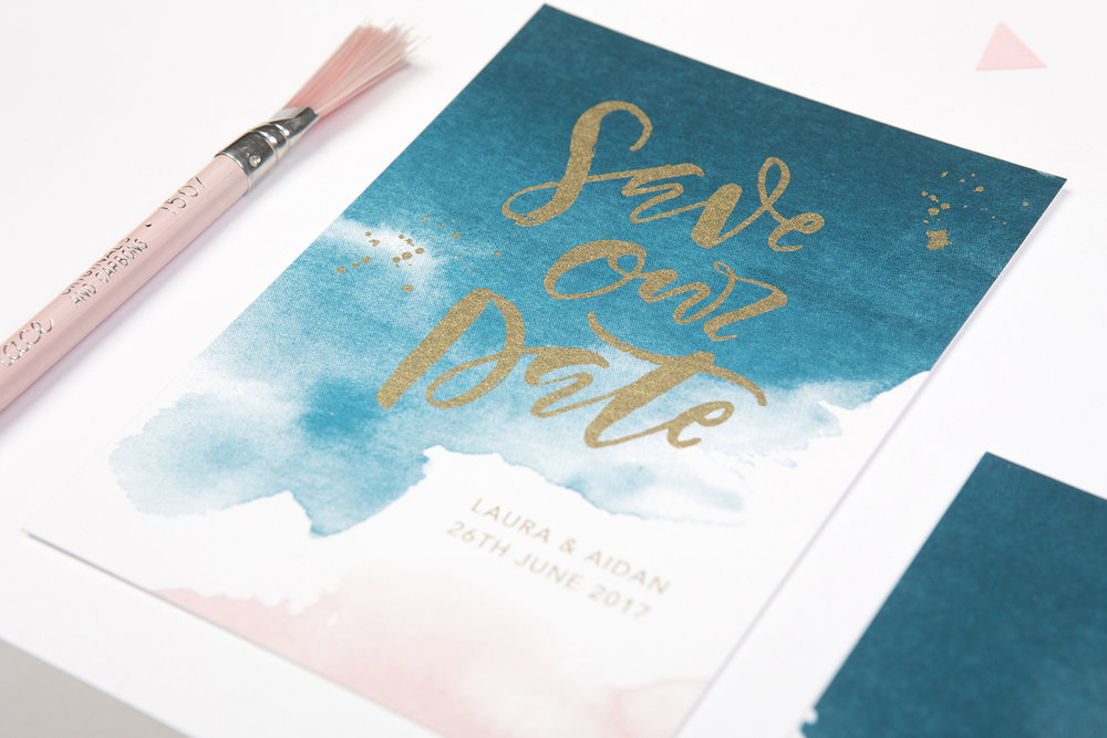 watercolour save the date