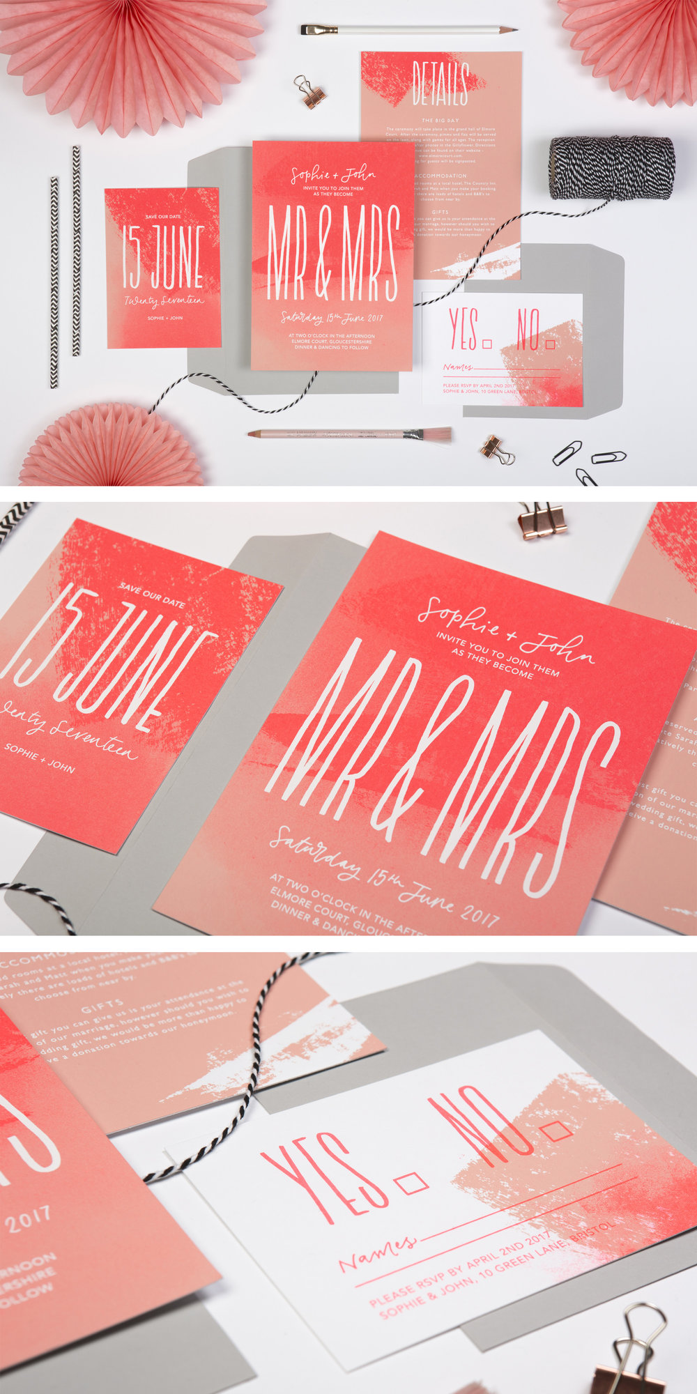 mr and mrs screen-printed neon modern wedding invitations